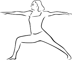 Line drawing of person in Warrior 2 pose